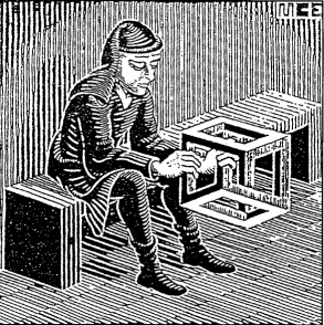 Escher's Man with Cuboid